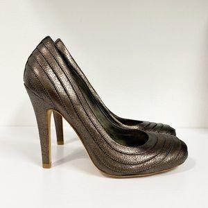 Metallic Stitched Tory Burch Pumps 7.5 Heels